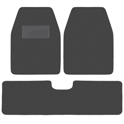 BDK 3 Pieces Heavy Duty Carpet Floor Mats for CAR SUV Van - Extra Thick Carpet with Rubber Backing Multiple Colors (Charcoal)