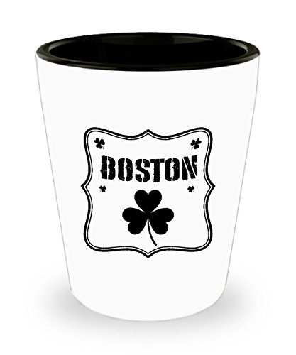 - Shot Glass Boston Irish Shamrock St. Patrick's Day Gift Cute Glass shot