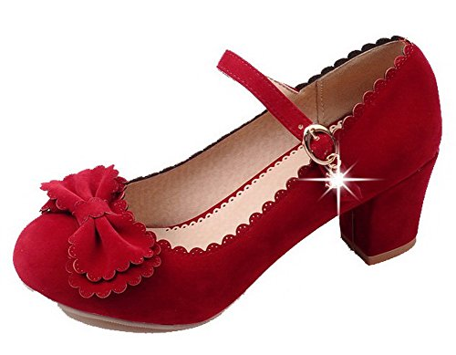 Red Kitten Heels Shoes Buckle Solid Round Women's Pumps Toe WeiPoot Frosted gRwqxHwv1