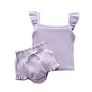 2Pc Toddler Baby Girl Off-Shoulder T-Shirt Crop Top Ruffled Leopard Short Pants Outfits Set