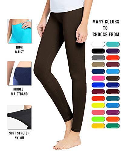 Basic Solid Full Length Footless Tights Leggings Pants - Nylon Premium Quality (One Size (Size 2-10), LG07 Brown) ()