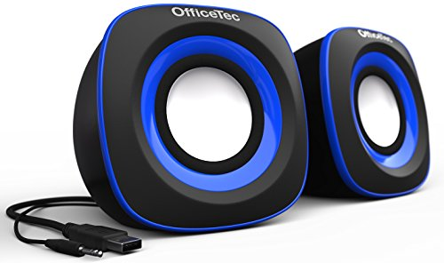 OfficeTec USB Speakers Compact 2.0 System for Mac and PC (Blue) by OfficeTec