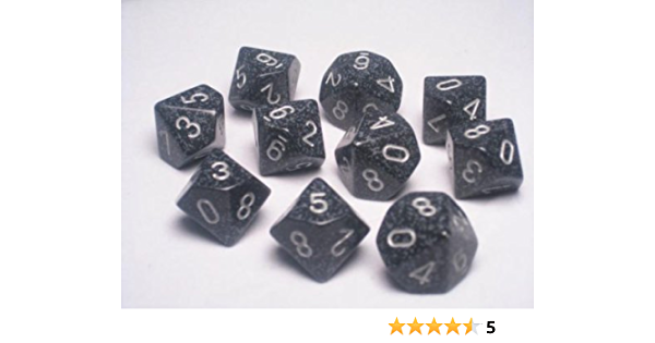 10 Ten Sided Die d10 Set CHX 25108 Chessex Dice Sets:Space Speckled