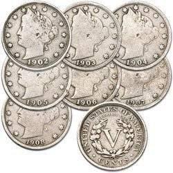 Head Liberty Nickel (1900 Various Mint Marks U.S. Liberty Head (Barber) Nickels - 8 Coin Grab Bag Good Detials)