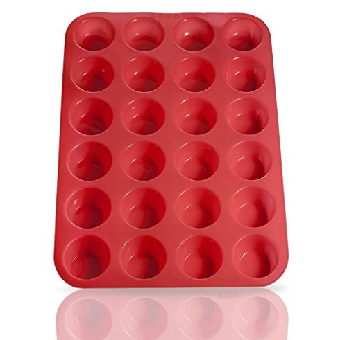 Wolecok Silicone Muffin & Cupcake Baking Pans, Non-Stick, Easy To Clean, Oven/Microwave/Dishwasher/Freezer safe, Heat Resistant up to 450°F (24 Cup, Red) (Convection Oven Muffin Pan)