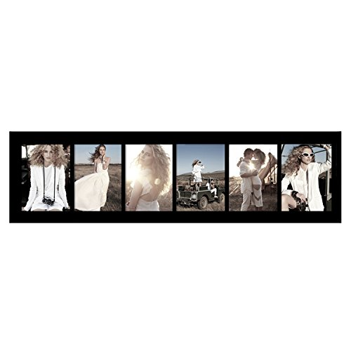 Adeco [PF0275]6 Openings 5x7 Collage Picture Frame - Wood Photo Collage Decoration - Black, For Wall Hanging, Horizontal & Vertical