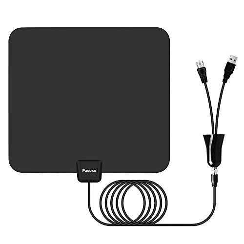 Pacoso Indoor Amplified HD TV Antenna 65-80 Miles Range - Support 4K 1080p & All Older TV's for Indoor with Powerful HDTV Amplifier Signal Booster/Longer Coax Cable by Pacoso