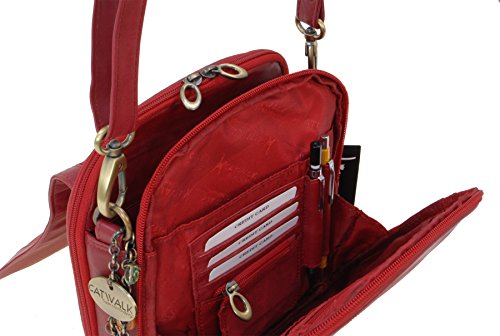 Sac Rouge en besace Collection cuir