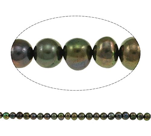Calvas Potato Cultured Freshwater Pearl Beads for Making DIY Jewelry Bracelet Necklace Olive Green, 8-9mm Per Approx 14.5 Inch Strand