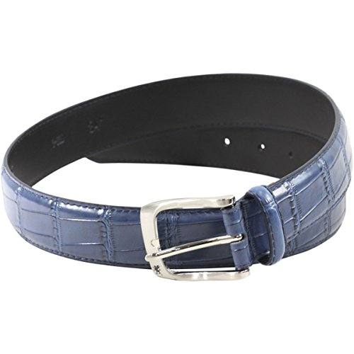 Stacy Adams Men's Griffin Buckle Blue Croco Embossed Genuine Leather Belt Sz: 32 Croco Embossed Leather Belt