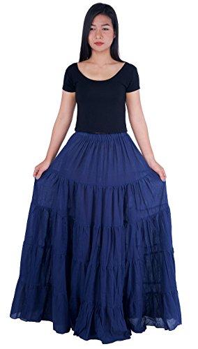 Lannaclothesdesign Women's Cotton Long Ruffle Full Circle Long Skirts Maxi Skirt (One Size, Dark Blue)