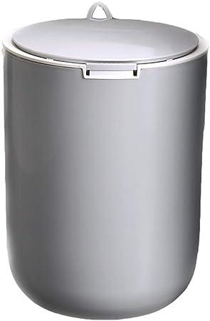 Hogar Sala Dormitorio Prensa Papelera Abierta Cocina Baño de Basura de clasificación Compartimiento de Papel Cesta Grande con Tapa (Color : Round A-Gray-10L): Amazon.es: Hogar