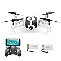 GoolRC T700 Mini Drone with Selfie 720P HD Camera Wifi FPV Quadcopter Equipped with G-Sensor Altitude Hold Headless System, Helicopter RC Plane with One Key Return Trajectory Flight 2 Batteries for Beginners Kids