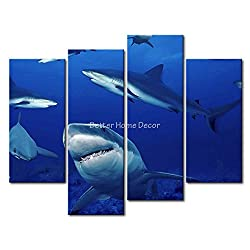 Blue YEHO Art Gallery Painting Sharks Get Together Foraging Picture Print On Canvas Animal The Picture Home Decor Oil Prints