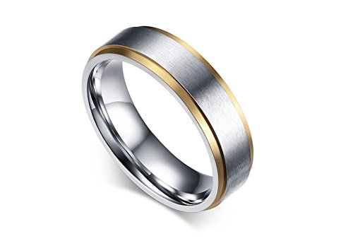 Stainless Steel 18k Gold Plated Wedding Engagement Band Couple Ring - 3