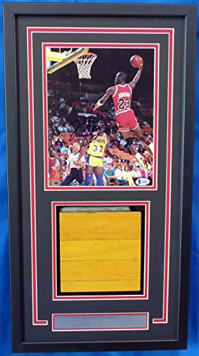 - Michael Jordan Autographed Framed 8x10 Magazine Page Photo With Chicago Bulls Game Used Hardwood Floor Piece Vintage Signature Graded 10 Beckett BAS #A60447