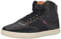 Levis Men's Wesley Hi Casual Fashion Sneaker, Black/Mono, 8.5 M US