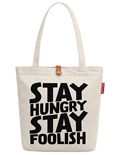 So'each Women's Stay Hungry Graphic Handbag Canvas Tote Shopping Bag