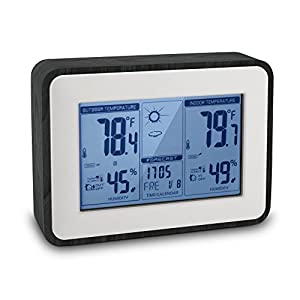 YOULANDA Indoor Outdoor Thermometer Digital Hygrometer Large Display Humidity Temperature Monitor Multifunctional Weather Station with Alarm Clock, 2018 Upgraded Design