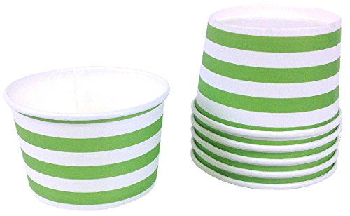 Just Artifacts Paper Ice Cream Cups 12pcs Rugby Stripe Green Apple