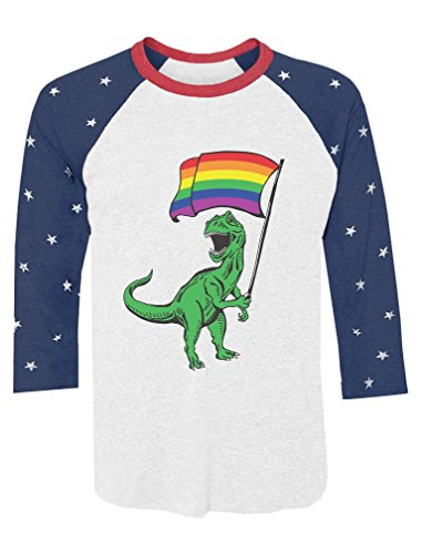 Raglan Gay Rainbow Flag - T-Rex Pride Parade Gay & Lesbian Rainbow Flag 3/4 Sleeve Baseball Jersey Shirt Small Stars