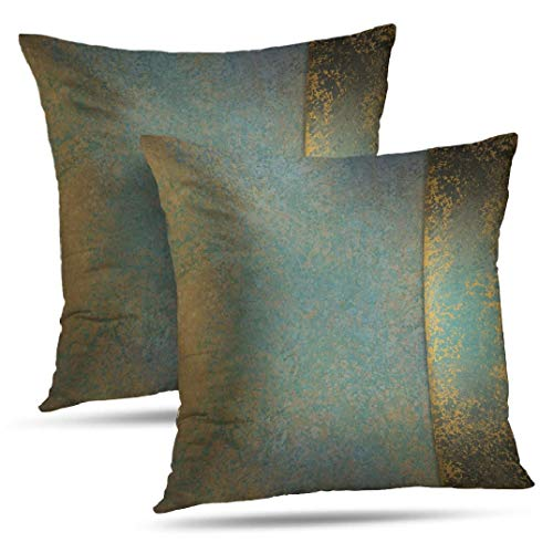 WAYATO Set of 2 Pillow Case Cotton Polyester Blend Throw Pillow Covers Serene Teal Blue Gold Brown Bed Home Decor Cushion Cover 18X18 Inch (And Turquoise Brown Pillows)