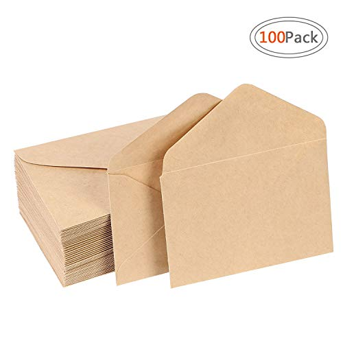 Road Brown Kraft Envelops Small Gummed Seal Envelopes (100 Pack) with Classic Flap for Wedding, Birthday Party Gift Card Suppli, 4.375 x 5.75 inch Kraft Envelops for Home Office - Envelopes Craft Supplies