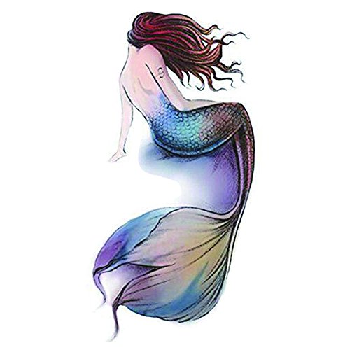 WYUEN 5 PCS Mermaid Women Body Temporary Tattoo Sticker Men Fake Tattoo Sticker Body Art 9.8X6cm (FA-241)