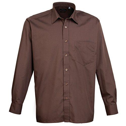 Manica Lunga Premier In Brown Camicia Popeline Uomo Fq4ZP