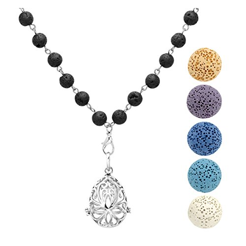 JOVIVI Aromatherapy Essential Oil Diffuser Necklace,Water Droplets Teardrop Locket Pendant with 5 Dyed Lava Stone Beads (16mm 5 Beads)