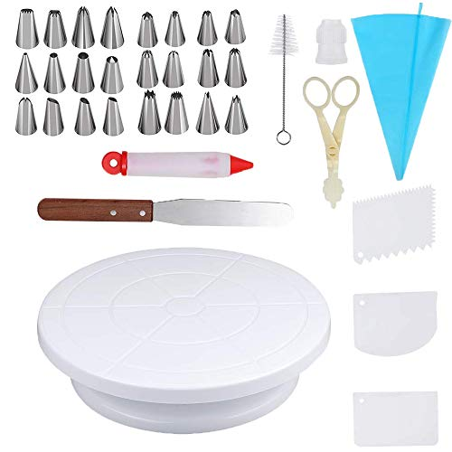 Cake Decorating Supplies with Cake Turntable 24 Stainless piping nozzles 1 Icing Spatula 1 Pastry Bag 1 Cake Brush 1 Cake Cutter 1 Cake Pen 3 Cake Scrapers cake -