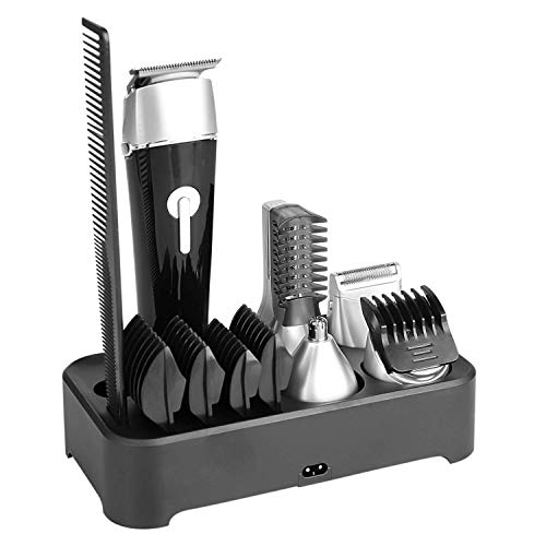 Abbicen New 5 in 1 Multi-functional Beard Trimmer Men's Grooming Kit Dual Shaver Body Trimmer Precision Nose & Ear Trimmer Waterproof Recharqeable Cordless (Black)