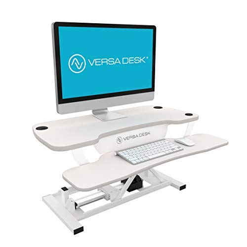 VersaDesk Power Pro - 48'' Electric Height-Adjustable Desk Riser - Sit to Stand Desktop with Keyboard and Mouse Tray - White by Versa Tables