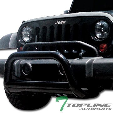 Topline Autopart Black Bull Bar Brush Push Front Bumper Grill Grille Guard With Skid Plate For 10-17 Jeep Wrangler JK