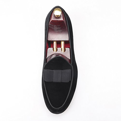HI&HANN Mens Flats Loafer With Short Tongue and Bowtie Shoes Slip-On Loafer Smoking Slipper Black mt1Z1