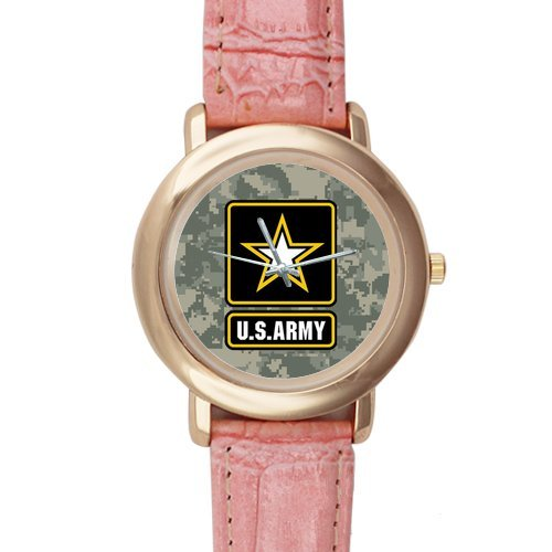 Gifts for girls or ladies Military US Army on Camouflage Pattern Pink Leather Alloy High-grade Watch
