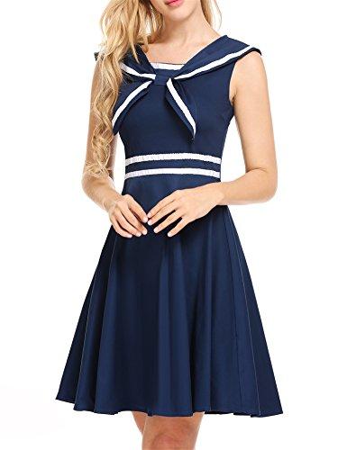 ACEVOG Womens Sleeveless 50s Vintage School Uniform Flare Retro Sailor Dress