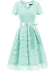 DRESSTELLS® Women's Wedding Dress Floral Lace Short Bridesmaid Cocktail Party Tea Dress