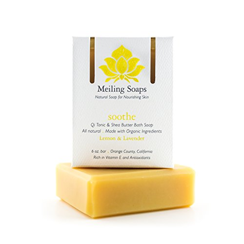 Soothe - Natural Lemon Lavender Organic Soap Bar Organic Shea Butter Soap w/ Vitamin E & Antioxidants - 6 Ounce Moisturizing Organic Soap Bar from Meiling Soaps - Natural Scent Soap Set