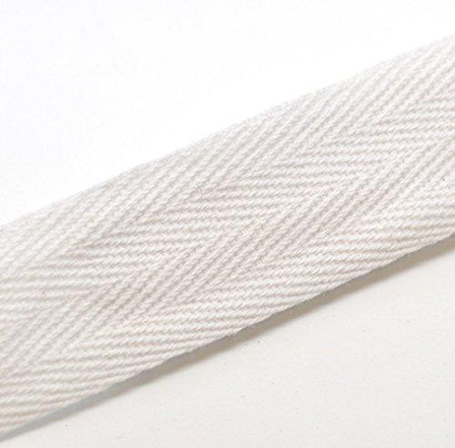 (QIANF Twill Tape Ribbon 100% Cotton White 1