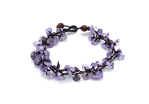 MGD, Purple Amethyst Chip Bead Anklet, 25 CM w/ 1 Inch Extend 3-Strand Anklet, Beautiful Anklet, Girl Handmade Jewelry, JB-0390A (Amethyst Anklet)