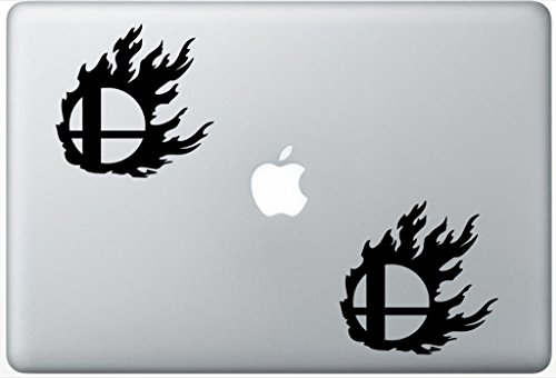 Super Smash Bros Flame ArcDecals78602708 Set Of Two (2x) , Decal , Sticker , Laptop , Ipad , Car , Truck (Decal Smash Super Bros)