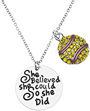 Sportybella Softball Necklace, Softball Jewelry - She Believed She Could So She Did Pendent - Perfect Softball
