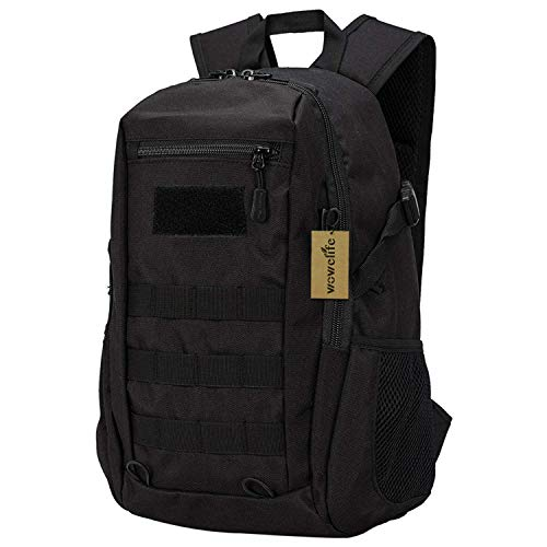 Wowelife Mini Tactical Backpack 10L Small Military Day Pack School Bag for Hunting Camping Trekking Travel(Black)
