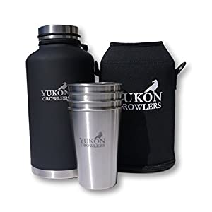 Outdoor Enthusiast Gift Pack - Keep Your Drink Cold for 24 Hours or Hot for 12 Hours with this 64 oz Stainless Steel Water Bottle, Carrying Case and 4 Stainless Steel Pint Glasses (Coal)
