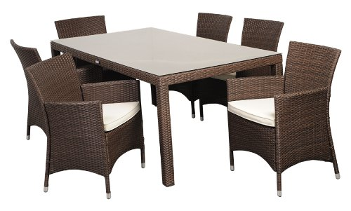 Atlantic 7-Piece Grand New Liberty Deluxe Rectangular Wicker Dining Set, Brown with Off-White Cushions
