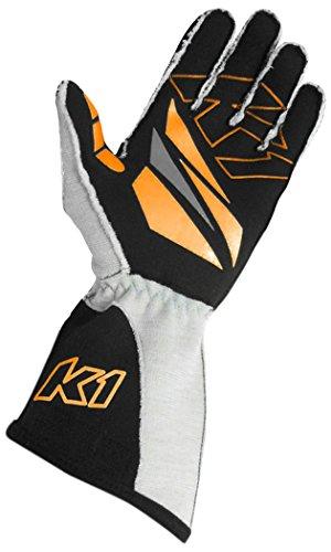 K1 Race Gear GT-1 SFI Auto Racing Gloves (Black/Orange/Grey, Small)