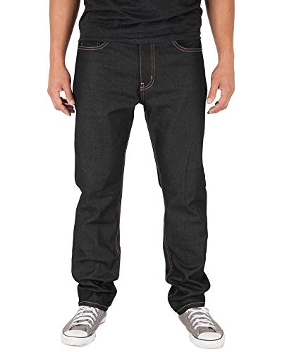 Shaka Wear RDS92_44 Mens 12oz raw Denim Pants Classic Straight Rigid Jeans Black Indigo 44