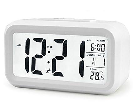 Multifunzionali Sveglie elettronico digitale, orologio LED Slim Digital Alarm Clock Grande Display temperatura, funzione snooze, Snooze, intelligente della luce di notte Amasawa