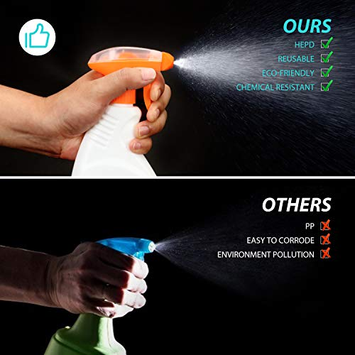 Spray Bottles for Cleaning Solutions, HONGO 16 oz Leak Proof HDPE Plastic Empty Spray Bottle with Sprayer for Mixing Essential Oils, Homemade Cleaning(2 Pack)